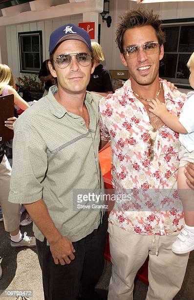 Luke Perry Dan Cortese during Target A Time For Heroes To Benefit The Elizabeth Glaser Pediatric AIDS Foundation at Mandeville Canyon Park in Los...