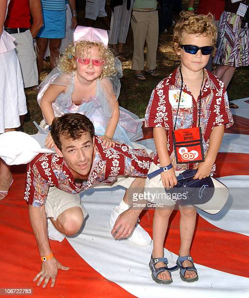 Luke Perry daughter Sophie and son Jack at the 2004 Target A Time for Heroes Celebrity Carnival to benefit the Elizabeth Glaser Pediatric AIDS...