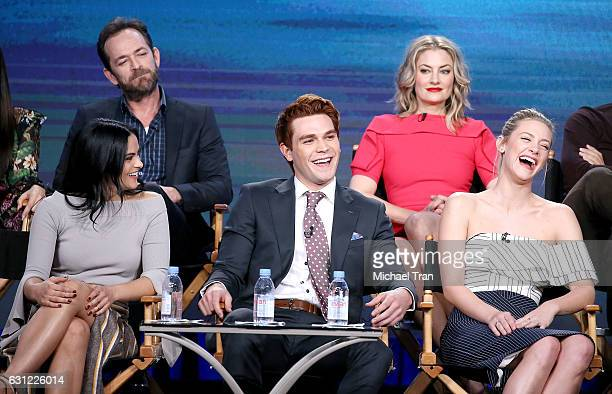 Luke Perry Madchen Amick Camila Mendes KJ Apa and Lili Reinhart for 'Riverdale' television show speak onstage during the 2017 Winter TCA Tour Panels...