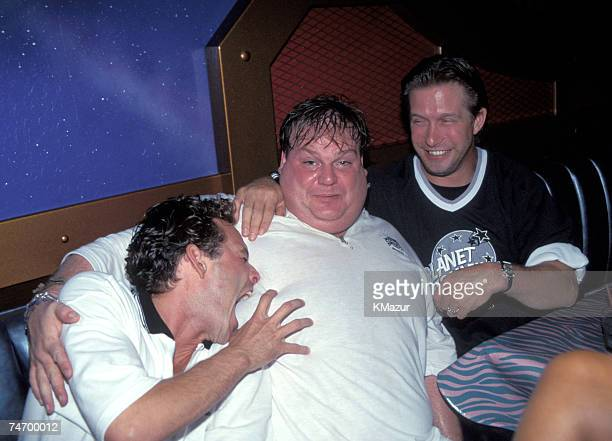 Luke Perry Stephen Baldwin and Chris Farley at the Planet Hollywood in New York City New York