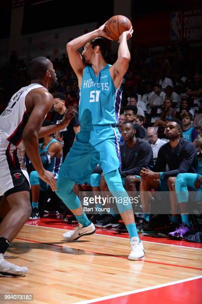 Luke Petrasek of the Charlotte Hornets looks to pass the ball against the Miami Heat on July 8 2018 at the Cox Pavilion in Las Vegas Nevada NOTE TO...
