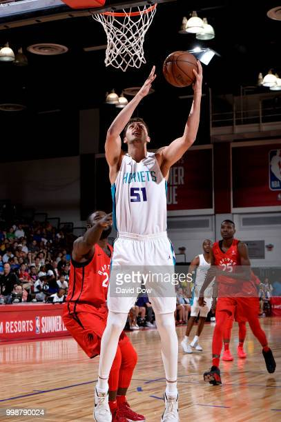 Luke Petrasek of the Charlotte Hornets shoots the ball against the Toronto Raptors during the 2018 Las Vegas Summer League on July 14 2018 at the Cox...