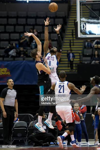 Luke Petrasek of the Greensboro Swarm shoots the ball against the Long Island Nets on March 18 2018 at NYCB Live Home of the Nassau Veterans Memorial...