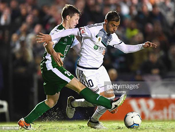Luke Pilkington of the Greens and James Troisi of the Victry compete for the ball during the FFA Cup match between Bentleigh Greens and Melbourne...