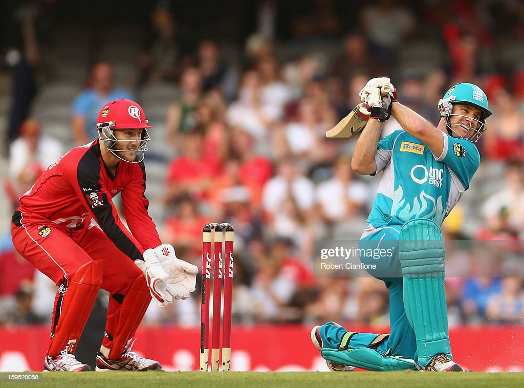 Luke Pomersbach of the Heat bats during the Big Bash League Semi-Final match between the Melbourne Renegades and the Brisbane Heat at Etihad Stadium on January 15, 2013 in Melbourne, Australia.