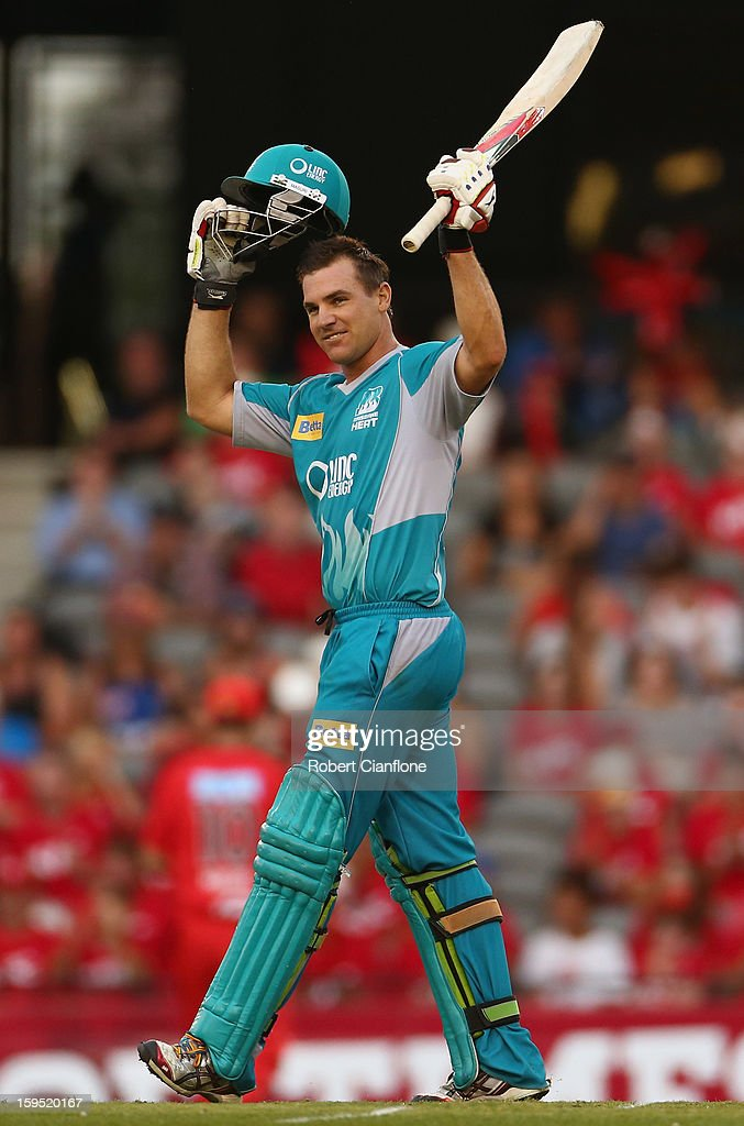 Luke Pomersbach of the Heat celebrates after scoring his century during the Big Bash League Semi-Final match between the Melbourne Renegades and the Brisbane Heat at Etihad Stadium on January 15, 2013 in Melbourne, Australia.