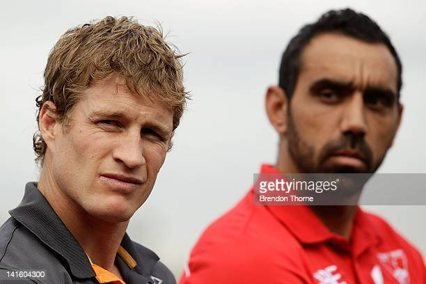 Luke Power of the Giants and Adam Goodes of the Swans speak with the media during the launch of the Sydney Derby trophy at Luna Park on March 20,...