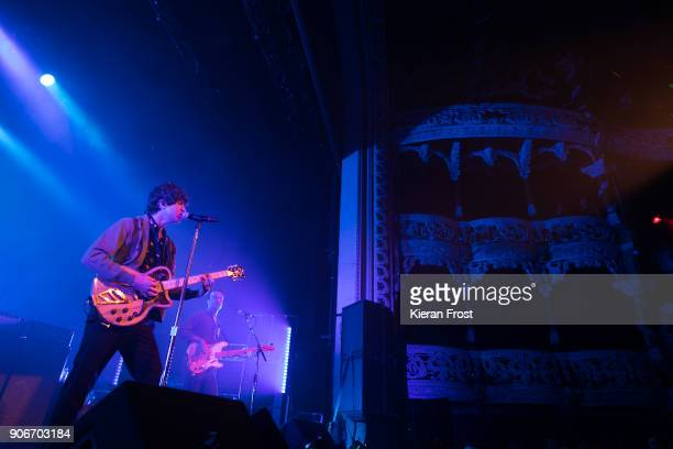 Luke Pritchard and Peter Denton of The Kooks perform live at the Olympia Theatre on January 18, 2018 in Dublin, Ireland.