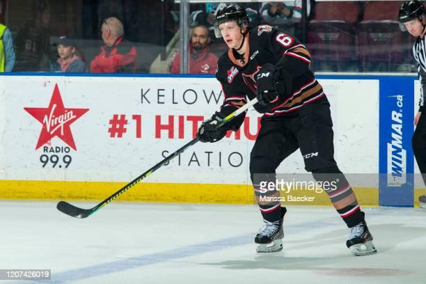 Luke Prokop of the Calgary Hitmen passes the puck against the Kelowna Rockets at Prospera Place on February 17, 2020 in Kelowna, Canada.