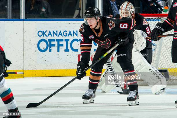 Luke Prokop of the Calgary Hitmen prepares for the face-off against the Kelowna Rockets at Prospera Place on February 17, 2020 in Kelowna, Canada.