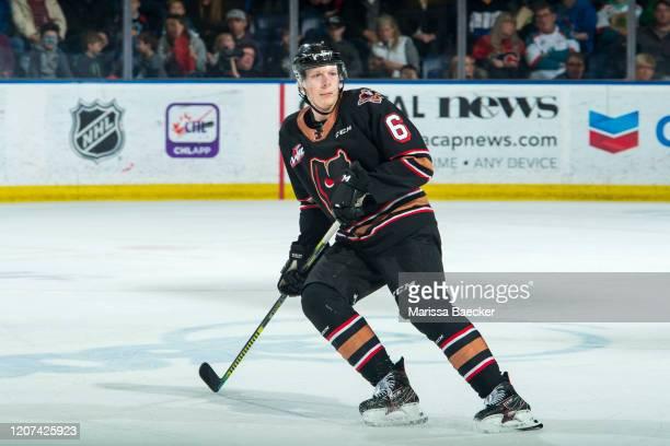Luke Prokop of the Calgary Hitmen skates against the Kelowna Rockets at Prospera Place on February 17, 2020 in Kelowna, Canada.