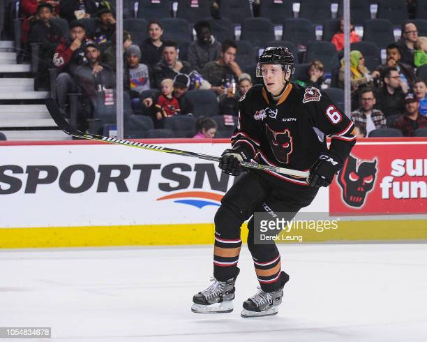 Luke Prokop of the Regina Pats in action against the Calgary Hitmen during a WHL game at the Scotiabank Saddledome on October 14, 2018 in Calgary,...
