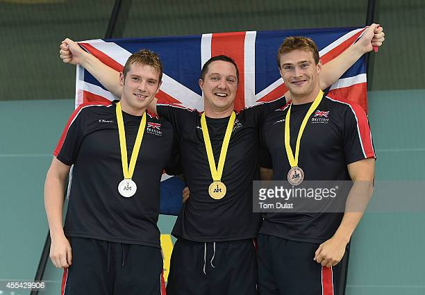 Luke Reeson of Great Britain Michael Goody of Great Britain and Gus Hurst of Great Britain pose for photos with their medals after the Men's S10 50m...