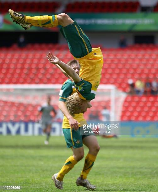 Luke Remington of Australia celebrates after scoring during the Group F FIFA U17 World Cup match between Australia and Denmark at the Corregidora...