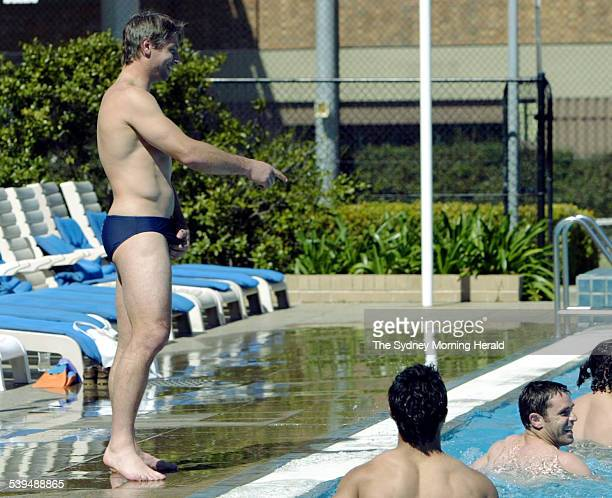 Luke Ricketson who was forced to stand in for Brad Fittler spots his missing skipper at team recovery session in Aussie Stadium's pool 6 Septembr...