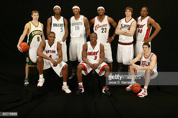 Luke Ridnour Josh Howard Carmelo Anthony LeBron James Kyle Korver Udonis Haslem Chris Bosh Dwyane Wade and Kirk Hinrich of the Sophomore Team pose...
