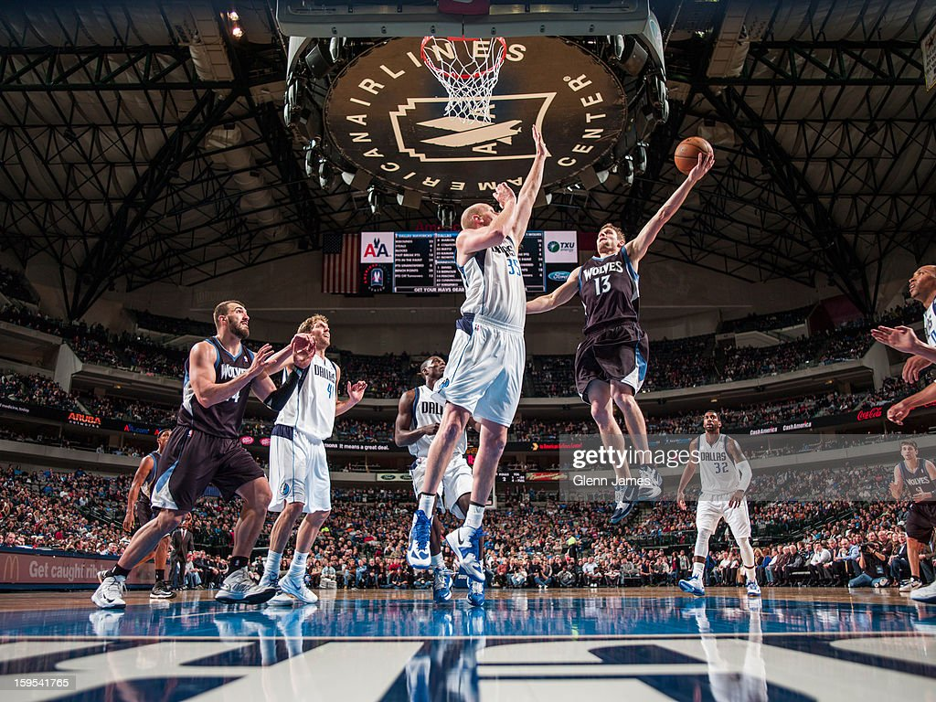 Luke Ridnour #13 of the Minnesota Timberwolves drives to the basket against the Dallas Mavericks on January 14, 2013 at the American Airlines Center in Dallas, Texas.