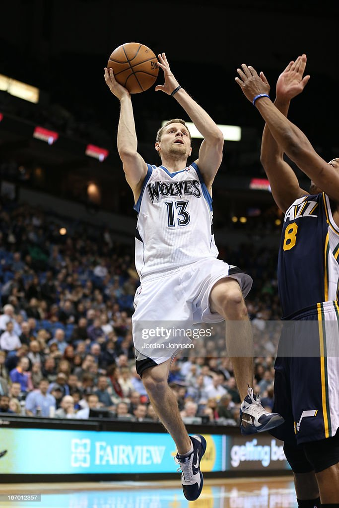 Luke Ridnour #13 of the Minnesota Timberwolves drives to the basket against the Utah Jazz on April 15, 2013 at Target Center in Minneapolis, Minnesota.
