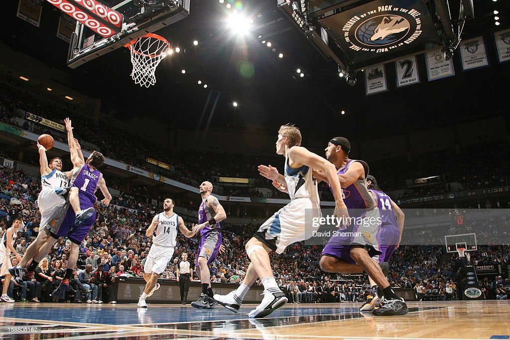 Luke Ridnour #13 of the Minnesota Timberwolves goes to the basket against Goran Dragic #1 of the Phoenix Suns during the game between the Minnesota Timberwolves and the Phoenix Suns during the game on December 29, 2012 at Target Center in Minneapolis, Minnesota.
