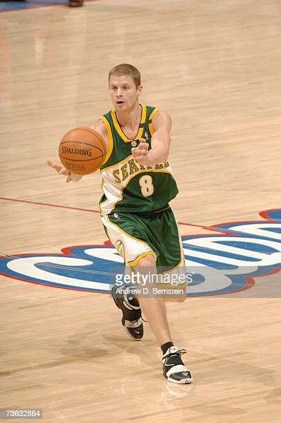 Luke Ridnour of the Seattle SuperSonics passes against the Los Angeles Clippers during the game at Staples Center on February 28 2007 in Los Angeles...