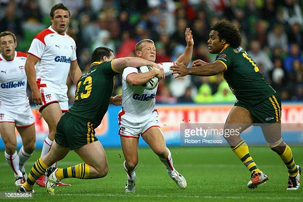 Luke Robinson of England is tackled during the Four Nations match between the Australian Kangaroos and England at AAMI Park on October 31 2010 in...