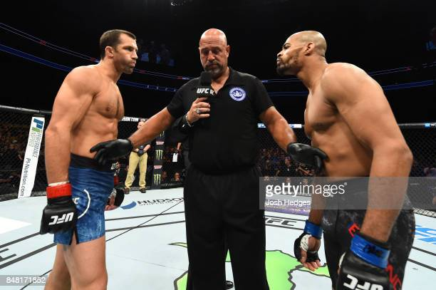 Luke Rockhold and David Branch face off prior to their middleweight bout during the UFC Fight Night event inside the PPG Paints Arena on September 16...