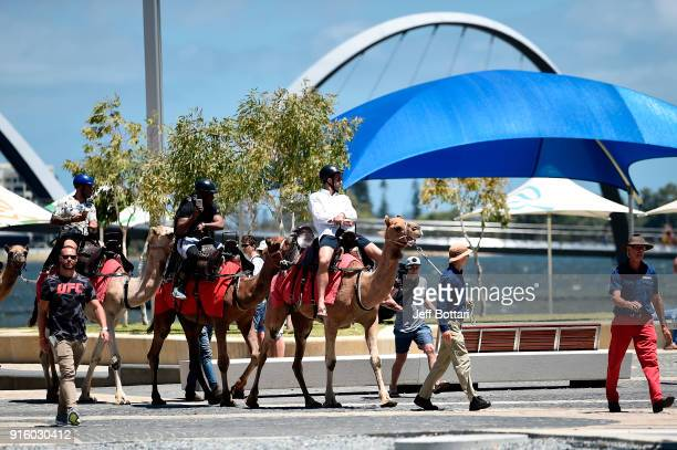 Luke Rockhold arrives on a camel before holding an open workout for fans and media during the UFC 221 Open Workouts at Elizabeth Quay on February 9...