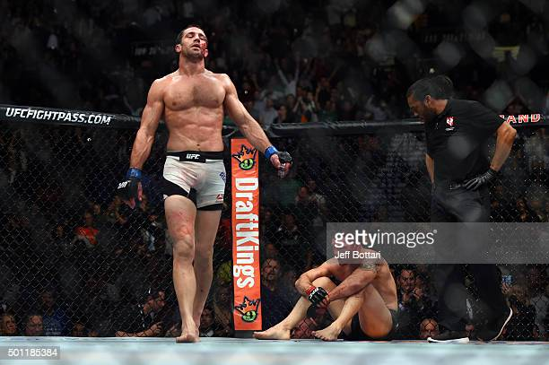 Luke Rockhold celebrates after defeating Chris Weidman in their middleweight championship bout during the UFC 194 event inside MGM Grand Garden Arena...