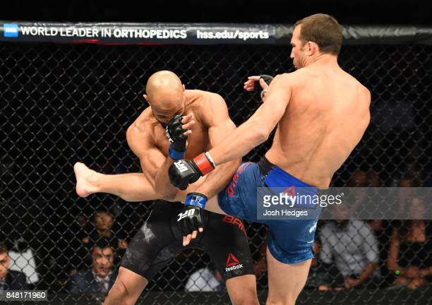 Luke Rockhold kicks David Branch in their middleweight bout during the UFC Fight Night event inside the PPG Paints Arena on September 16 2017 in...