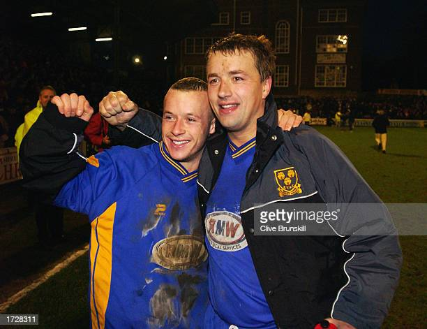 Luke Rodgers and Nigel Jemson of Shrewsbury Town celebrate after the FA Cup Third Round match between Shrewsbury Town and Everton held on January 4...