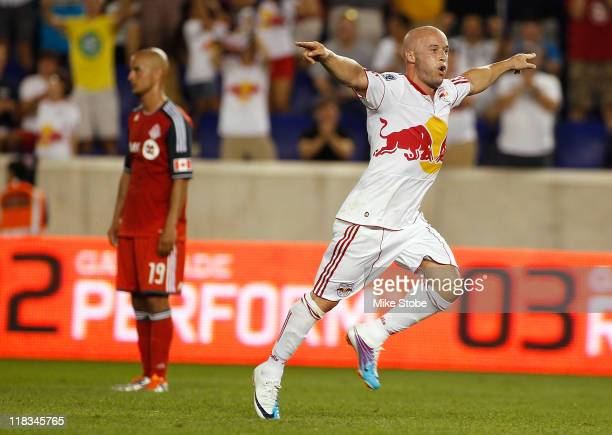 Luke Rodgers of the New York Red Bulls celebrates his goal in the 38th minute against the Toronto FC on July 6 2011 at Red Bull Arena in Harrison New...