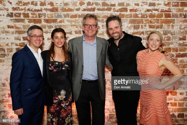 Luke Rogers Brooke Satchwell Jonathan Biggins Luke Joslin and Elise McCann pose during the Helpmann Awards 2017 Nomination Announcement at Roslyn...