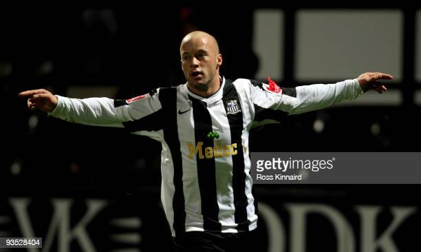 Luke Rogers of Notts County celebrates after scoring the first goal during the Coca-Cola Football League Two match between Notts County and...