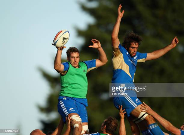 Luke Romano and Sam Whitelock of the All Blacks jump in the lineout during a New Zealand All Blacks training session at Trusts Stadium on June 7 2012...