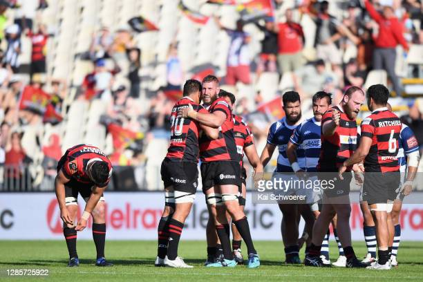 Luke Romano of Canterbury and his team mates celebrate their win in the round 10 Mitre 10 Cup match between Canterbury and Auckland at Orangetheory...