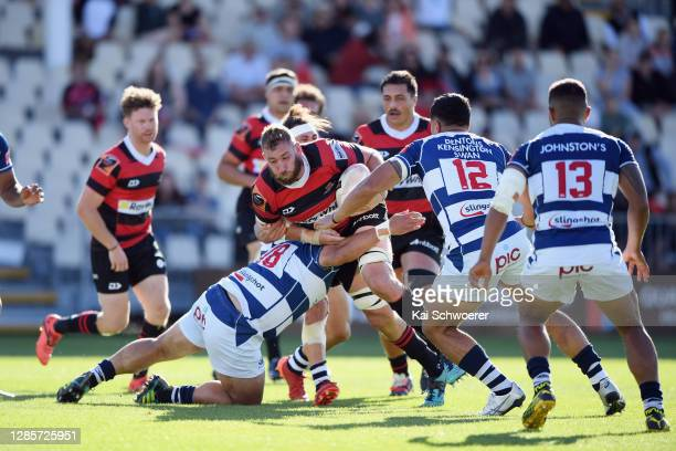 Luke Romano of Canterbury charges forward during the round 10 Mitre 10 Cup match between Canterbury and Auckland at Orangetheory Stadium on November...