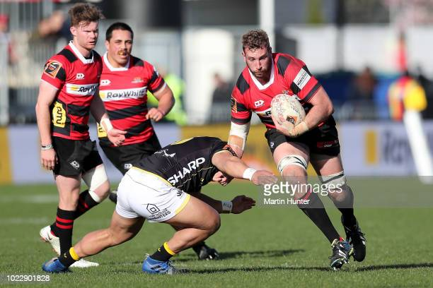 Luke Romano of Canterbury makes a break during the round two Mitre 10 Cup match between Canterbury and Wellington at AMI Stadium on August 25 2018 in...