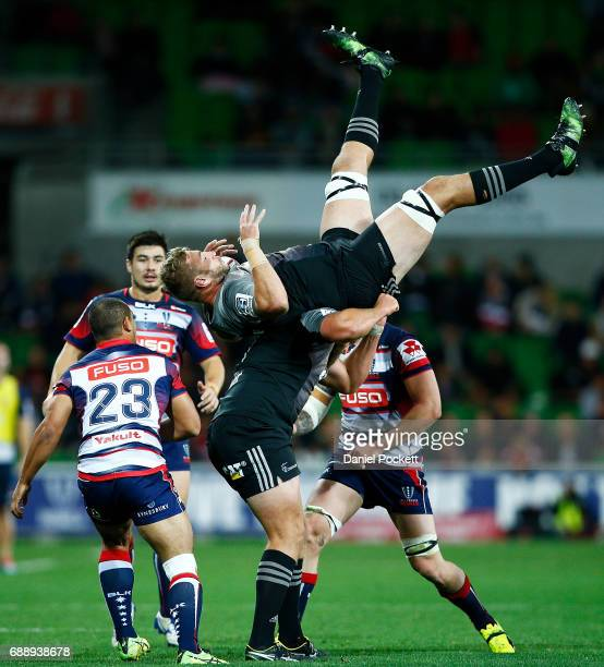 Luke Romano of the Crusaders catches the ball during the round 14 Super Rugby match between the Rebels and the Crusaders at AAMI Park on May 27 2017...