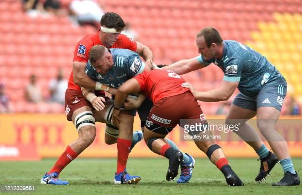 Luke Romano of the Crusaders takes on the defence during the round seven Super Rugby match between the Sunwolves and the Crusaders at Suncorp Stadium...