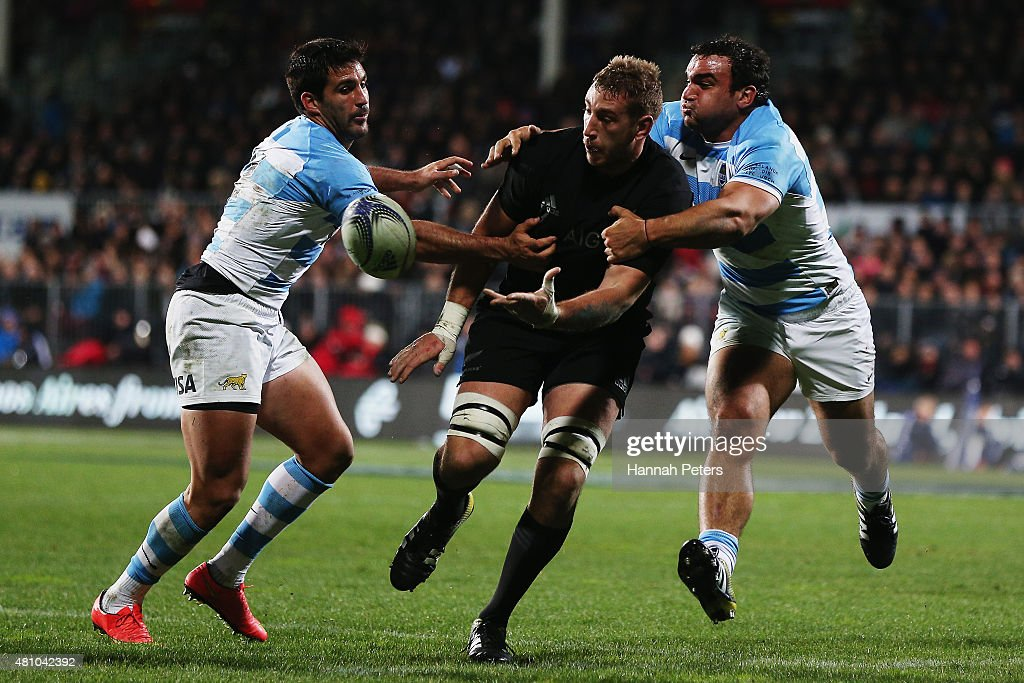 Luke Romano of the New Zealand All Blacks offloads the ball during The Rugby Championship match between the New Zealand All Blacks and Argentina at AMI Stadium on July 17, 2015 in Christchurch, New Zealand.