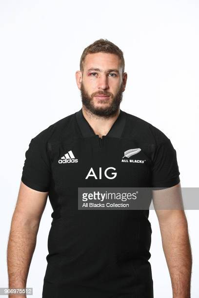 Luke Romano poses during a New Zealand All Blacks headshots session on June 3 2018 in Auckland New Zealand