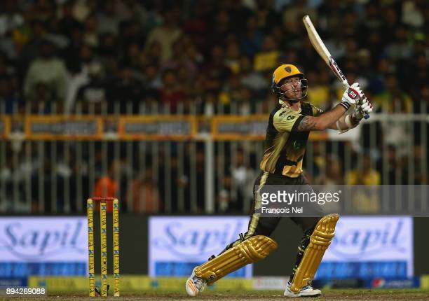 Luke Ronch of Punjabi Legends bats during the T10 League Final match between Kerela Kings and Punjabi Legends at Sharjah Cricket Stadium on December...