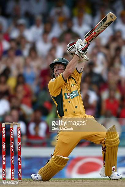 Luke Ronchi of Australia hits out during the Twenty20 International between the West Indies and Australia at Kensington Oval on June 20 2008 in...