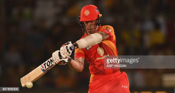 Luke Ronchi of Islamabad United hits a ball during the Pakistan Super League final match between Peshawar Zalmi and Islamabad United at the National...