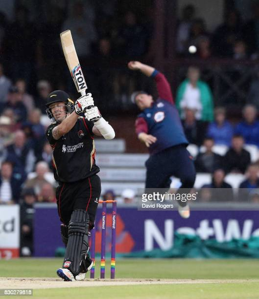 Luke Ronchi of Leicesteshire plays and misses at a deliveryduring the NatWest T20 Blast match between the Northamptonshire Steelbacks and...