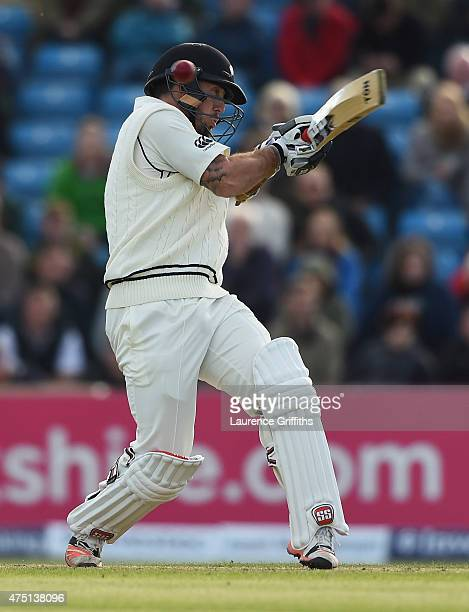 Luke Ronchi of New Zealand avoids a short ball from Stuart Broad of England during day one of the 2nd Investec Test Match between England and New...