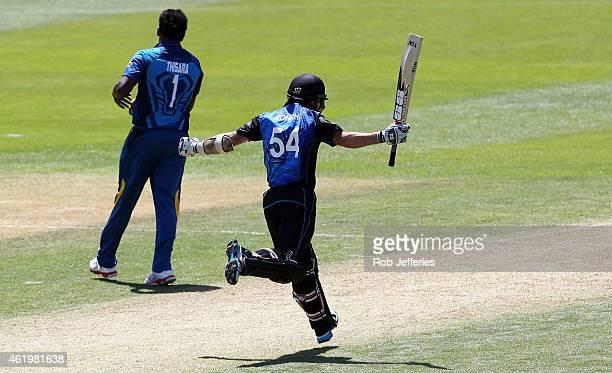 Luke Ronchi of New Zealand celebrates scoring 100 runs during the One Day International match between New Zealand and Sri Lanka at University Oval on...