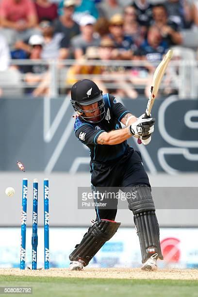 Luke Ronchi of New Zealand is bowled by Josh Hazlewood of Australia during the One Day International match between New Zealand and Australia at Eden...