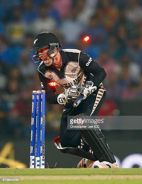 Luke Ronchi of New Zealand stumps out Ravichandran Ashwin of India during the ICC World Twenty20 India 2016 Group 2 match between New Zealand and...