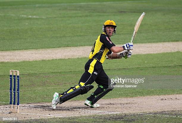 Luke Ronchi of the Warriors bats during the Ford Ranger Cup match between the Victoria Bushrangers and the West Australia Warriors at Melbourne...